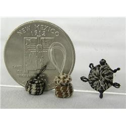 Micro Miniature Horsehair Lidded Baskets & Turtle
