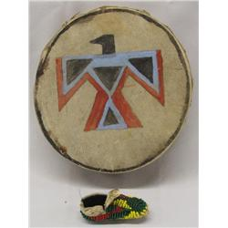 Plains Indian Handpainted Drum Sm Beaded Moccasin