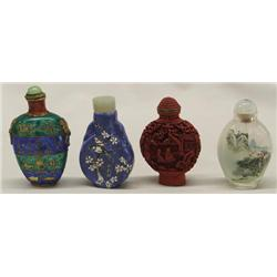 4 Asian Snuff Bottles With Lids