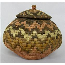 1960's Zulu Lidded Polychrome Basket