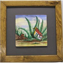 1940s Jalisco Framed Painted Tile, Agave Harvester