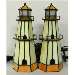 Pr of Lighthouse Stained Glass Lamps