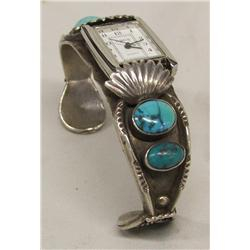 Vintage Navajo Silver Turquoise Watch Band