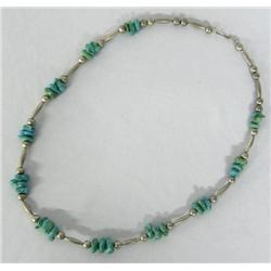Navajo Silver Turquoise Nugget Necklace