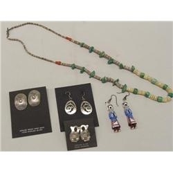 Collection of Navajo Silver Turquoise Jewelry