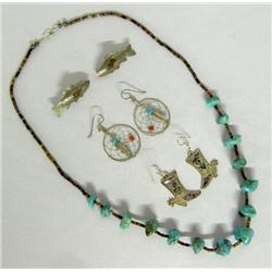 4 Turquoise and Heishi Necklace and Earrings