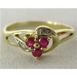 Thailand 10Kt P Yellow Gold Diamond Ruby Ring