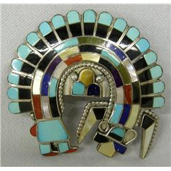 Zuni Rainbow Man Kachina Silver Inlay Pendant