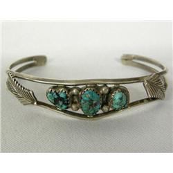 Navajo Silver Turquoise Bracelet by Spencer