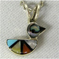 Zuni Dainty Inlay Duck Pendant Necklace by Laahty