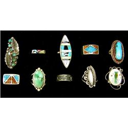 10 Navajo & Zuni Silver Turquoise Coral Rings
