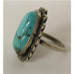 Navajo Sterling Silver Turquoise Ring By F Curly