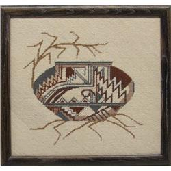 Indian Pottery Needlepoint Framed Picture