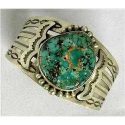 Navajo Silver Turquoise Bracelet by Edison Begay