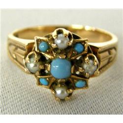 Antique Rose Gold Seed Pearl Persian Turq. Ring