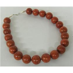 Sterling Silver Apple Coral Bead Choker