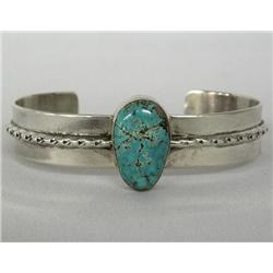 Navajo Silver Turquoise Bracelet by E Yazzie