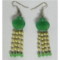 Antique Jade Pearl Pierced Earrings