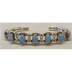 Navajo Sterling Silver and Opal Bracelet