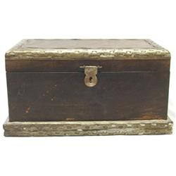 Vintage Hinged Metal and Wood Box