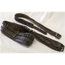 2 Vintage Leather Ammo Belts