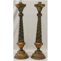 Pr Mexican Copper and Brass Candlestick Holders