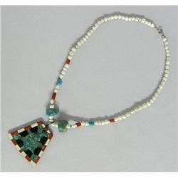 Santo Domingo Turquoise Inlay Pendant Necklace