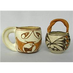Pottery Acoma Cup w/Handle and Pottery Basket Bowl