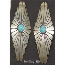 Navajo Silver and Turquoise Pierced Earrings by LT