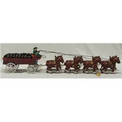 Cast Iron Budweiser Beer Wagon & 8 Horse Team