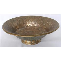 Asian Copper Hand Hammered Shallow Bowl