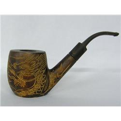 Carved Wooden Dragon Pipe