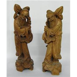 Pr Asian Carved Wooden Statues