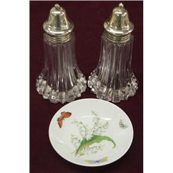 Limoges Plate & Silverplate Crystal Salt & Pepper
