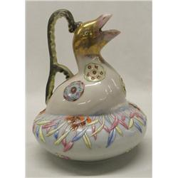 Unusual Fine Porcelain Bird Pitcher