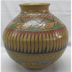Mata Ortiz Polychrome Feather Pot by Jesus Tena