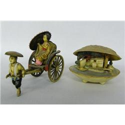 Japanese Rickshaw and Shell Figurines