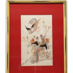 Asian Embroidered Picture of Birds and Flowers on Linen
