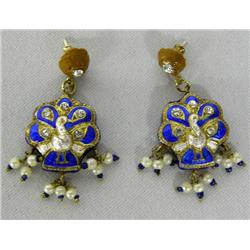 Enamel Peacock Pierced Earrings
