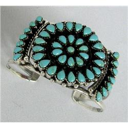 Silver Turquoise Cluster Bracelet Southwest Style