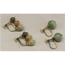 2 Pr. 14KT Gold Jade Screw back Earrings