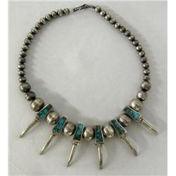 Navajo Silver Turquoise Claw Necklace