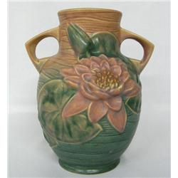 Roseville Pottery Water Lily Pink & Green Vase