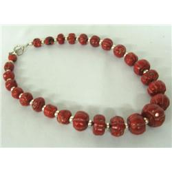 Red Melon Coral & Sterling Silver Bead Necklace