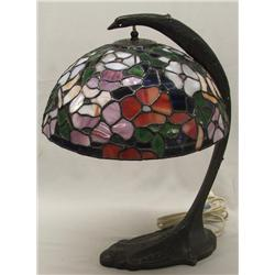 Vintage Leaded Stained Glass Lamp