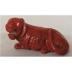 Chinese Carved Red Coral Tiger