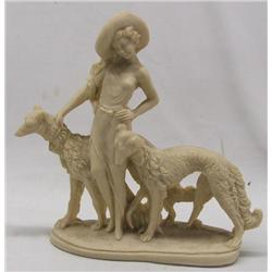 Soapstone Lady and Borzoi Dogs Statue