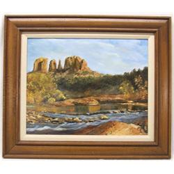 Original Oil of Oak Creek Canyon By M LoPiccolo