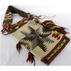 Navajo Rug Pouch With Silver Concho
