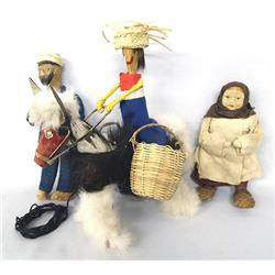 3 Folkart Handcrafted Dolls